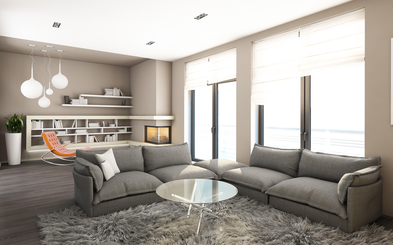 Wohnzimmer Design Grau
